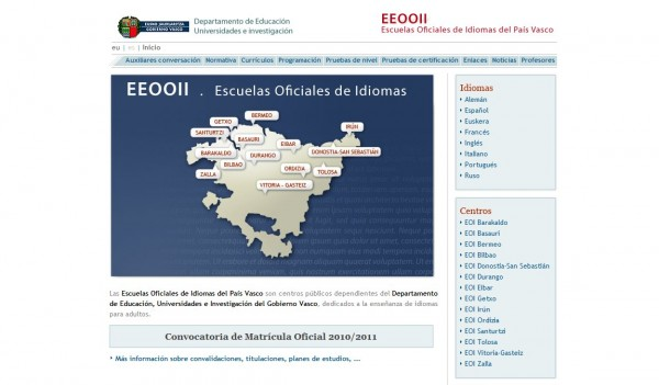 Página web EOI Euskadi