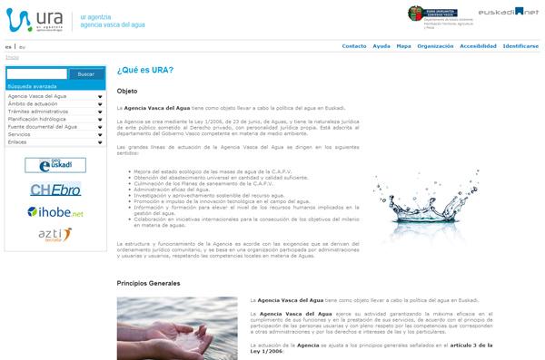Página Web URA (Agencia Vasca del Agua)