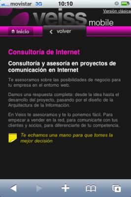 Página web Veiss.com mobile