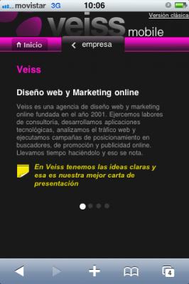 Página web móvil Veiss