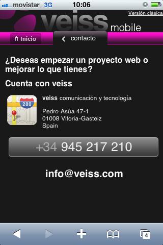 Versión móvil del Sitio Web de Veiss