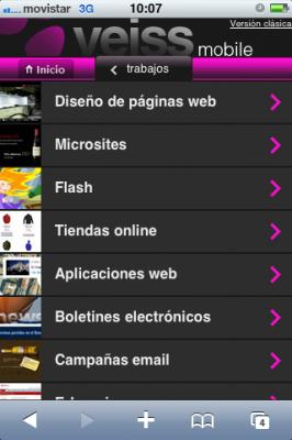 Pantallazo Veiss mobile