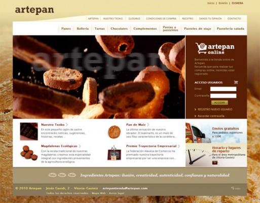 Página web Artepan