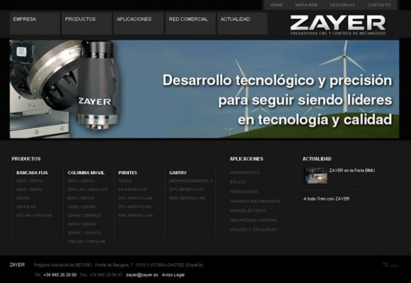 Portada del Sitio Web de Zayer