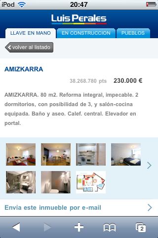 Ficha de inmueble en la versión móvil de Inmobiliaria Luis Perales