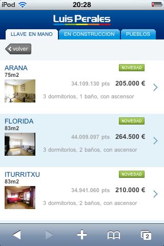 Página de resultados de una búsqueda en la versión móvil de Inmobiliaria Luis Perales