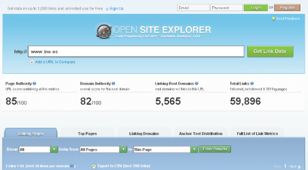 Vista del Sitio Web Open Site Explorer, backlinks análisis y Link Popularity