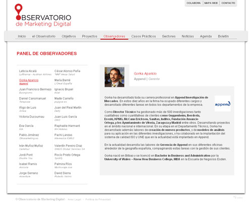 Página de observadores del Observatorio de Marketing Digital