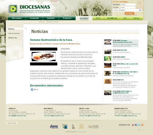 Sección Noticias del Sitio Web de Diocesanas