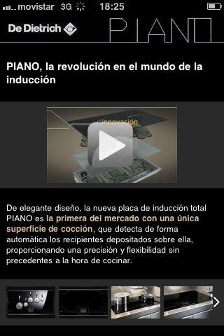 Sitio Web móvil para la placa piano de De Dietrich