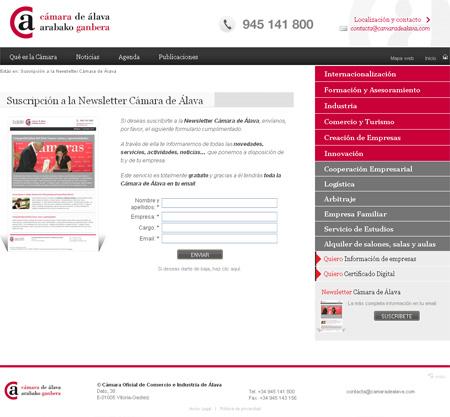 Formulario de suscripción a la Newsletter de la Cámara de Comercio de Álava