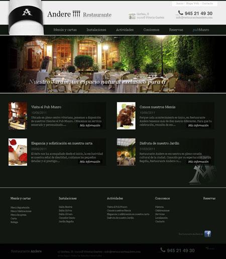 Home del Sitio Web del Restaurante Andere