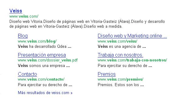 Resultados Google con sitelinks en columna