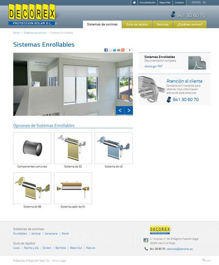 Página web Decorex elementos cortinas