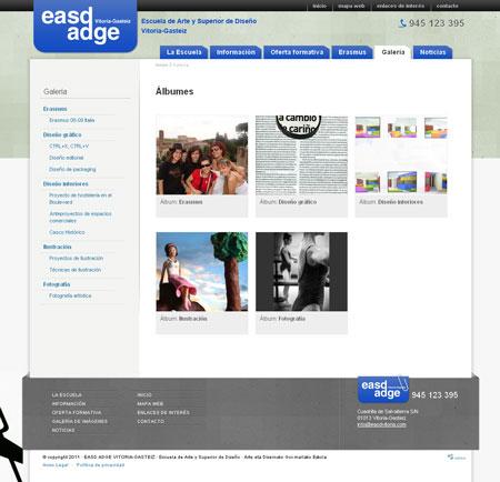 Sección Galería de la página Web de EASD Vitoria