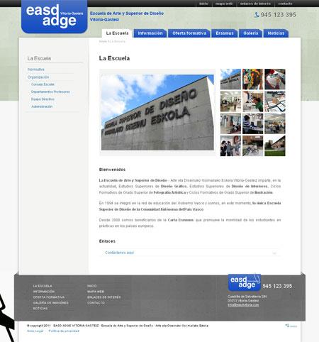 Sección Escuela de la página Web de EASD Vitoria