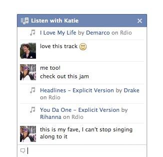 Chat para escuchar música de Facebook