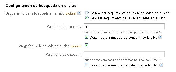 Configuración del buscador interno en Google Analytics