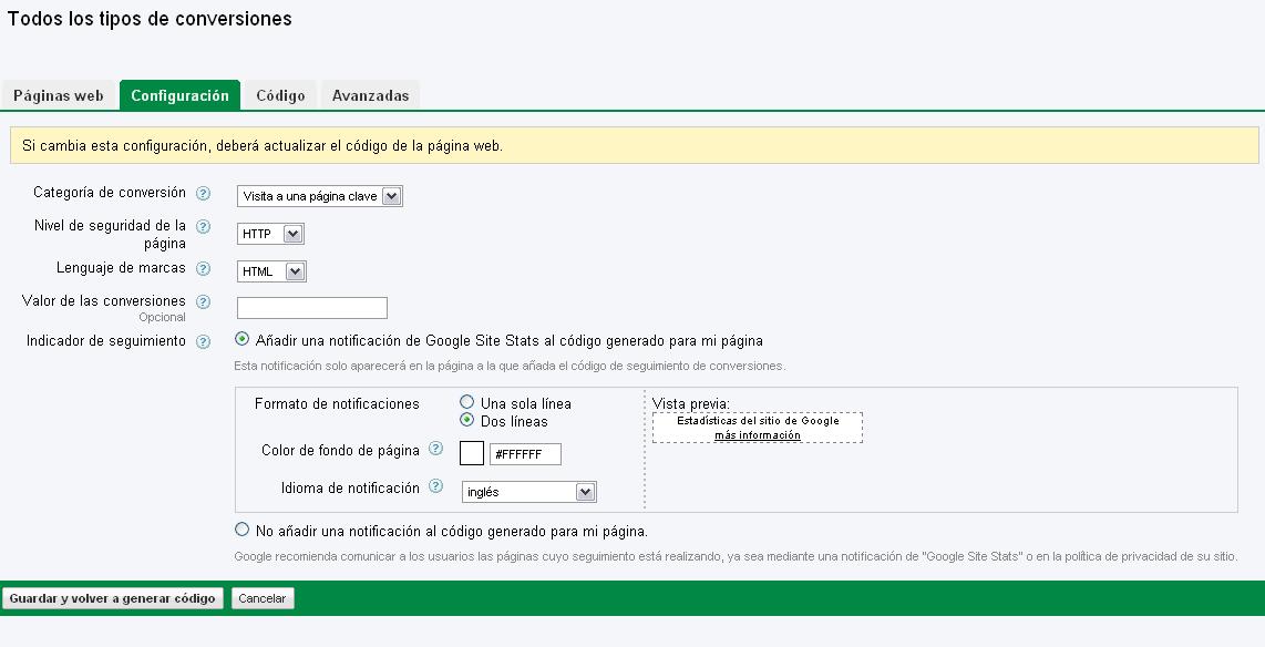 Pantalla de configuración de conversiones en Adwords