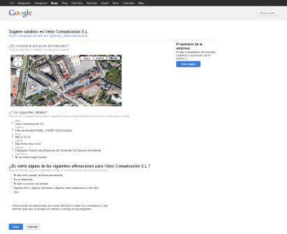 Ficha de sugerencias de Google Maps