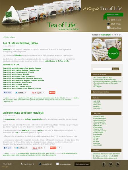 Blog corporativo Té