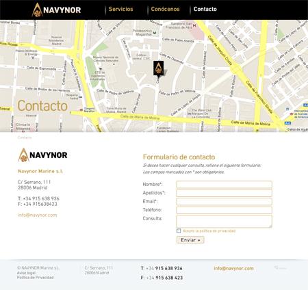 Página de contacto de Navynor