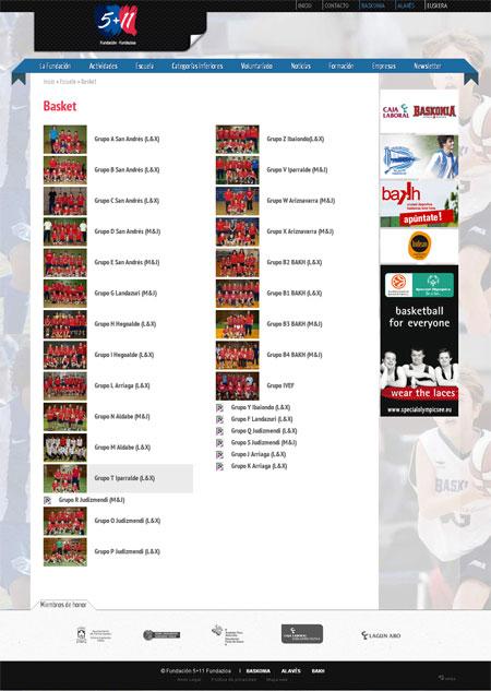 Listado de grupos de la escuela de Basket de la Fundación 5+11
