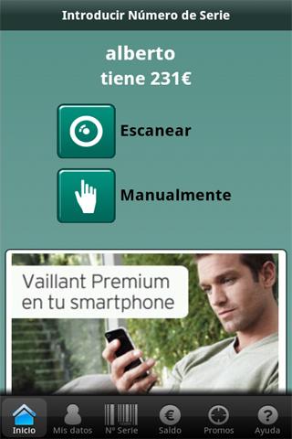 Pantalla principal de la aplicación Vaillant Premium