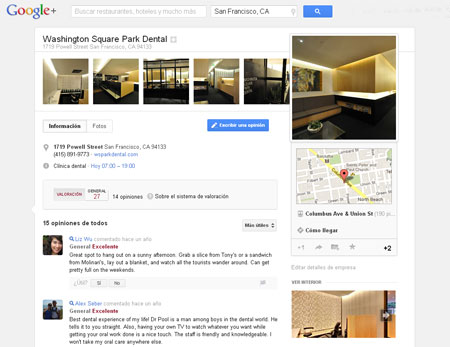Ejemplo de Fotos de negocio en Google Plus