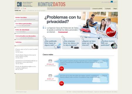 Página principal del Microsite ¿Problemas con tu privacidad? de la Agencia Vasca de Protección de datos