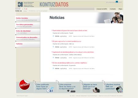 Noticias sdel microsite de la Agencia Vasca de Protección de Datos