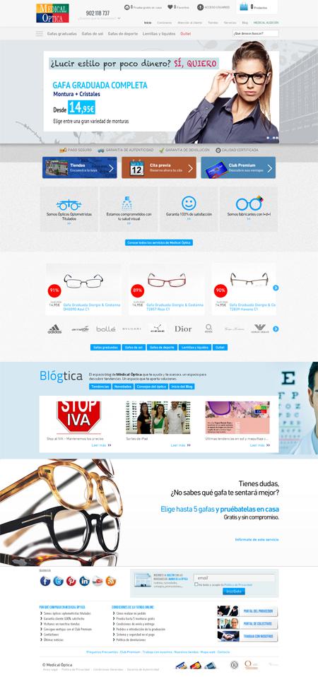 Página inicial de la web Medical Optica