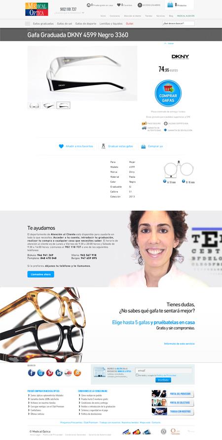 Página de producto en la web de Medical Optica