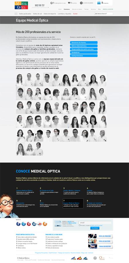 Página de equipo en la web de Medical Optica