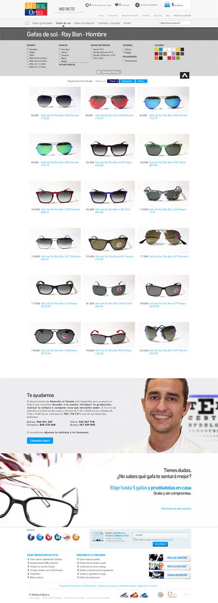 Página de marca de gafas en la web de Medical Optica