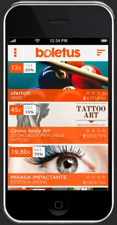 Ofertas en app Boletus para smartphones