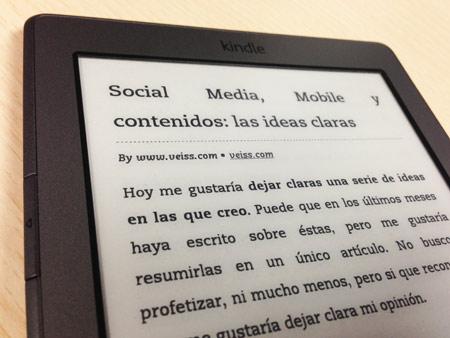 Artículo de nuestro blog visto en un lector Kindle