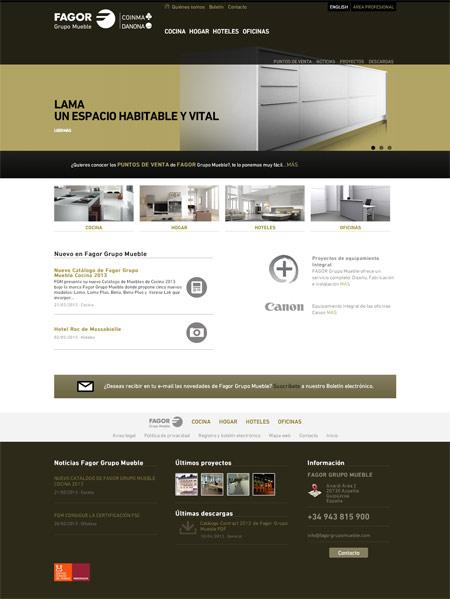 Página de inicio de la web de Fagor Grupo Mueble