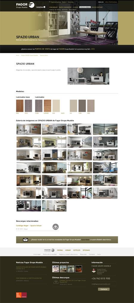 Página de producto en la web de Fagor Grupo Mueble