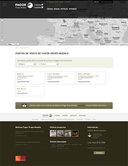 Página Puntos de venta Fagor Grupo Mueble